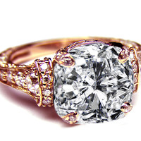 Engagement Ring - Large Cushion Diamond Cathedral Graduated pave Engagement Ring 1.25 tcw. In 14K Rose Pink Gold - ES745CURG