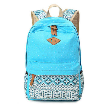 Women's Blue Polka Dots Backpack for College Bookbag for Teen Girls School Bag