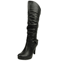 Womens Knee High Boots Ruched Lace Up Back Casual Comfort Shoes Black SZ