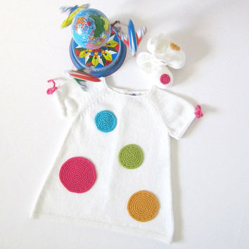 Knitted baby dress, white, with big crochet dots. 100% cotton. MADE to ORDER.