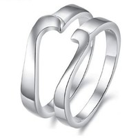 His & Hers Matching Set Platinum Plated Couple Ring Wedding Band Set Simple Korean Style Heart Shape (Available Sizes 5# to 10#) (Hers, 6)