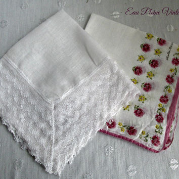 Vintage White Crocheted Rose Floral Cotton Handkerchiefs Hankies Hanky Two