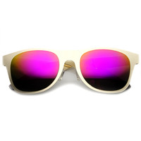 Modern Laser Cut Flat Metal Horned Rim Revo Mirror Lens Sunglasses 9735