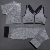 Fashion 3pcs Women's Sports Bras Yoga Fitness Racerback Vest Shorts Set 09