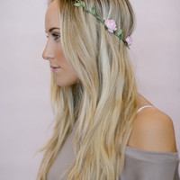 Bohemian Flower Crowns, Pink Infinity Wired, Floral Boho Headband, Bohemian Hair Accessories for Women in Baby Pink