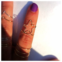 Gold Star Midi Ring, adjustable wire, knuckle ring