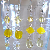 Shades of Yellow Glass Bead Dangle Earrings, Handmade, Summer Colors, Bright, Ladies Gift, Fashion Jewelry, Casual Elegance, Simple Style