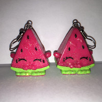 Shopkins Foodie Earrings - Melonie Pips [glitter] - made with repurposed toys