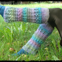 Multicolor hand knit leg warmers wool leggings Turquoise Lilac Grey Green Blue gift for her
