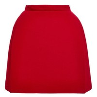 DELPOZO Double Faced Wool Crepe Miniskirt True Red