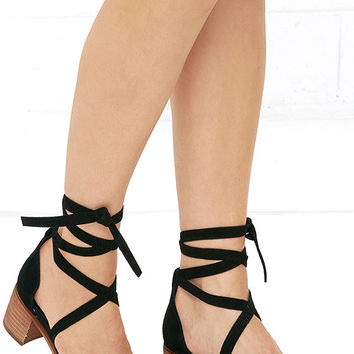 Steve Madden Rizzaa Black Suede Leather Heeled Sandals
