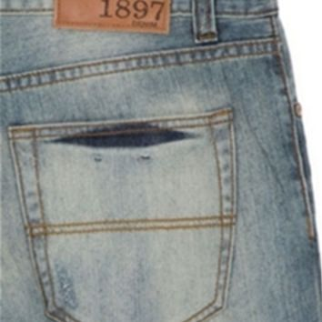 1897 Destructed Original Bootcut Jeans with Light Wash for Men GL339
