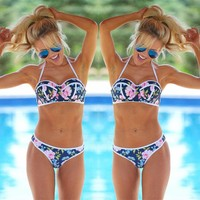 Floral Push-up Padded Bra Swimsuit