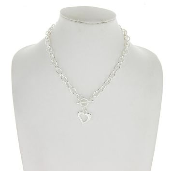 Metal Chain With Heart Charm Toggle Necklace
