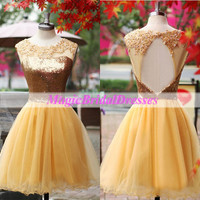 Shining Golden Sequins Prom Dress Lace Appliqued on Organza Keyhole Back Design Fashion Short Women Dresses Mini Girls' Homecoming dress