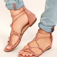 Rosabel Pink Suede Gladiator Sandals