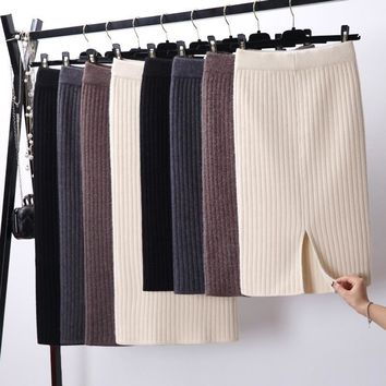 Knitted Elegant Midi Pencil Skirt