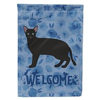 Russian White Black #1 Cat Welcome Flag Canvas House Size CK4963CHF