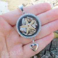 Crystal locket pendant, Beach Locket Jewelry, Real Seashells Necklace, Real Coral Necklace, Sea Locket Necklace, Real Starfish, Sea Necklace