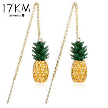 17KM Brincos Pineapple Long Dangle Earrings Jewelry For Women Fashion Gold Color Pendant Charm Accessories Boucle D'oreille