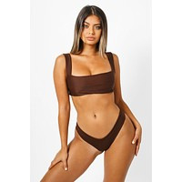 Hampton Back Tie Bikini Top - Chocolate Brown