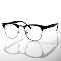 grinderPUNCH® 80's -'Club' - Half frame Clear Lens Wayfarer - Black