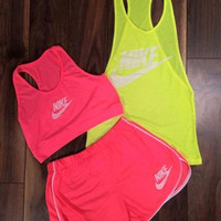 "3 pcs set ""Nike"" Fluorescent vest shorts Movement Set"