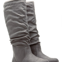 Grey Go-To Faux Suede Slouch Boot