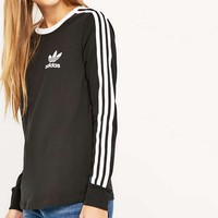 adidas Three Stripe Long Sleeve Black T-shirt - Urban Outfitters