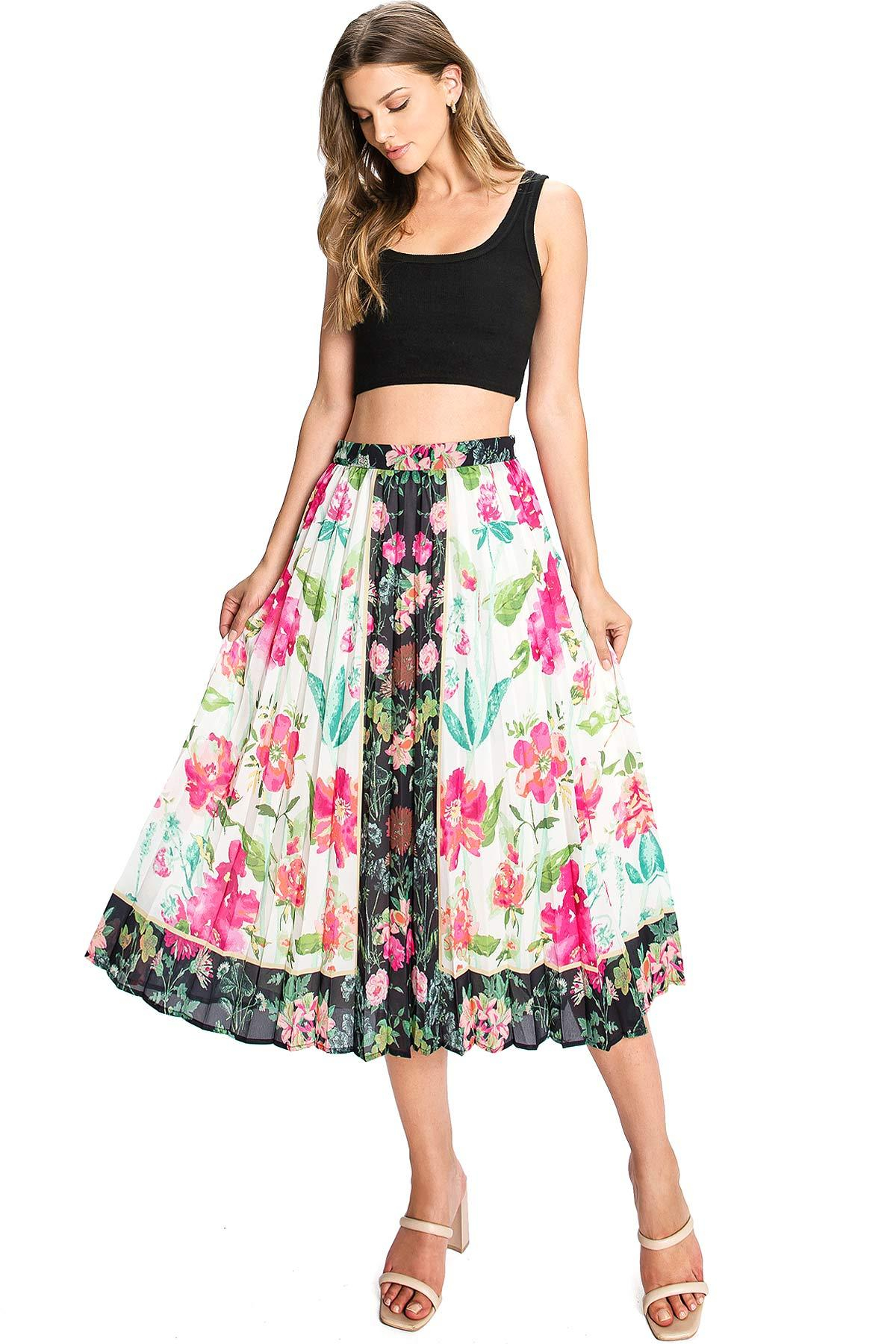Image of Inverse Floral Pleated Skirt