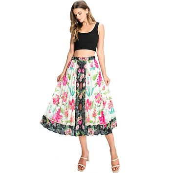 Inverse Floral Pleated Skirt