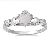 9MM 2ctw Sterling Silver OCTOBER WHITE LAB OPAL ROYAL IRISH Claddagh Ring 4-10