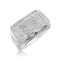 Diamond Micropave Mens Ring 0.34 Cttw in 10KT White Gold