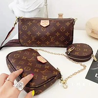 LV Louis Vuitton Fashion Women Leather Handbag Shoulder Bag Satchel Wallet Three-Piece