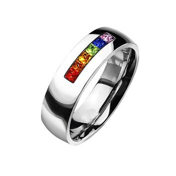 Refraction - FINAL SALE Six Gem Stones Representing Colors Of Rainbow Stainless Steel Comfort Fit Ring