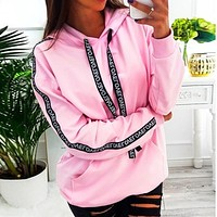 Women Autumn Sweatshirt Hoodies Long Sleeve Solid Hooded Pullover Tops harajuku Letter Print Hoodies Women Plus Size 5XL moletom