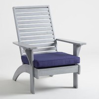 Gray Wood Hyacinth Adirondack Chair with Cushion