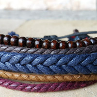 FREE SHIPPING-Men, Woman Bracelet, Multi Color and Strands. Handmade handknotted Hemp Style Jewelry, 122