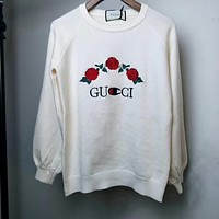 Gucci Fashion Rose embroidery sweater