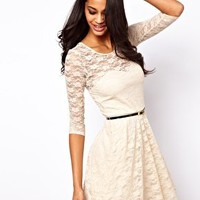 ASOS Skater Dress In Lace with 3/4 Sleeves And Belt at asos.com