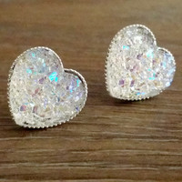 Druzy earrings- Rainbow clear heart drusy silver tone stud druzy earrings
