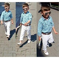fashion boys clothes set kids loose-fitting cotton plaid shirt+ pants+ belt minion kids clothing set