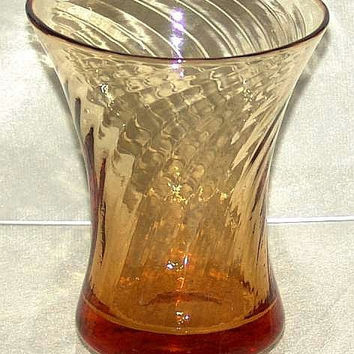 Art Deco Stevens & WIlliams (Brierley) Amber Wrythern / Fluted Regal Pattern Art Glass Vase 15cm tall c1920's (ref: D40-300312)