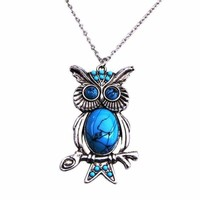 Fashion Turquoise Necklace Owl Pendant Long Necklace