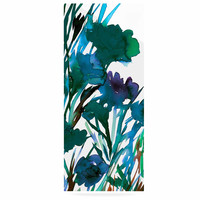 """Ebi Emporium """"Petal For Your Thoughts Teal"""" Turquoise Green Luxe Rectangle Panel"""