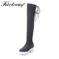 Kickway Thigh High Flat Boots Women Over the Knee Boots Comfort Fall Winter cow suede Faux Suede fashion Boots plus size 34-44