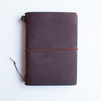 TRAVELER'S Company Passport Leather Journal Starter Kit Brown