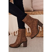 Come And Get It Faux Leather Booties (Tan Brushed)