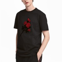 T-shirt with embroidery - Black/Rose - Men | H&M GB
