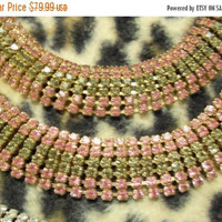 On Sale Stunning Vintage Pink & Grey Rhinestone Demi Parure Set Bracelet Necklace 1950's Collectible Hollywood Regency Mad Men Mod Jewelry